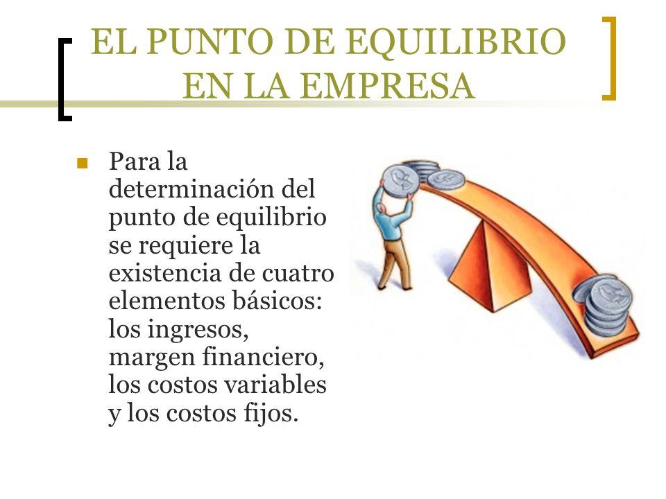 EL PUNTO DE EQUILIBRIO EN LA EMPRESA Para la determinación del punto de equilibrio se requiere la existencia de cuatro elementos básicos: los ingresos