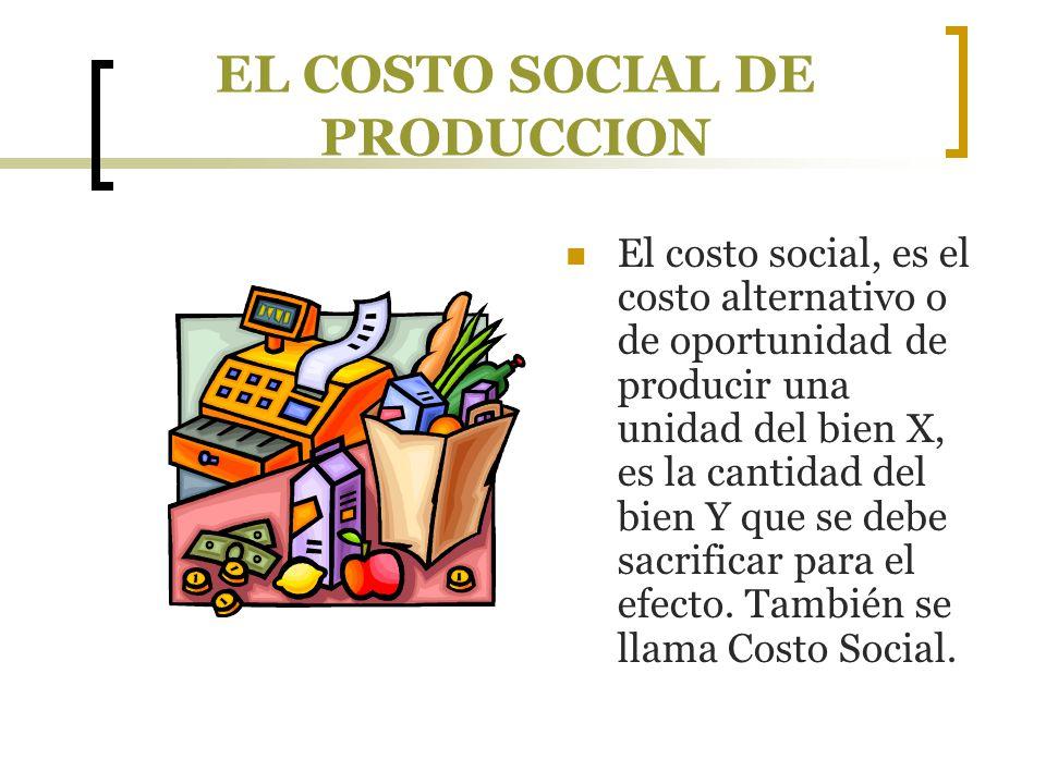 EL COSTO SOCIAL DE PRODUCCION El costo social, es el costo alternativo o de oportunidad de producir una unidad del bien X, es la cantidad del bien Y q