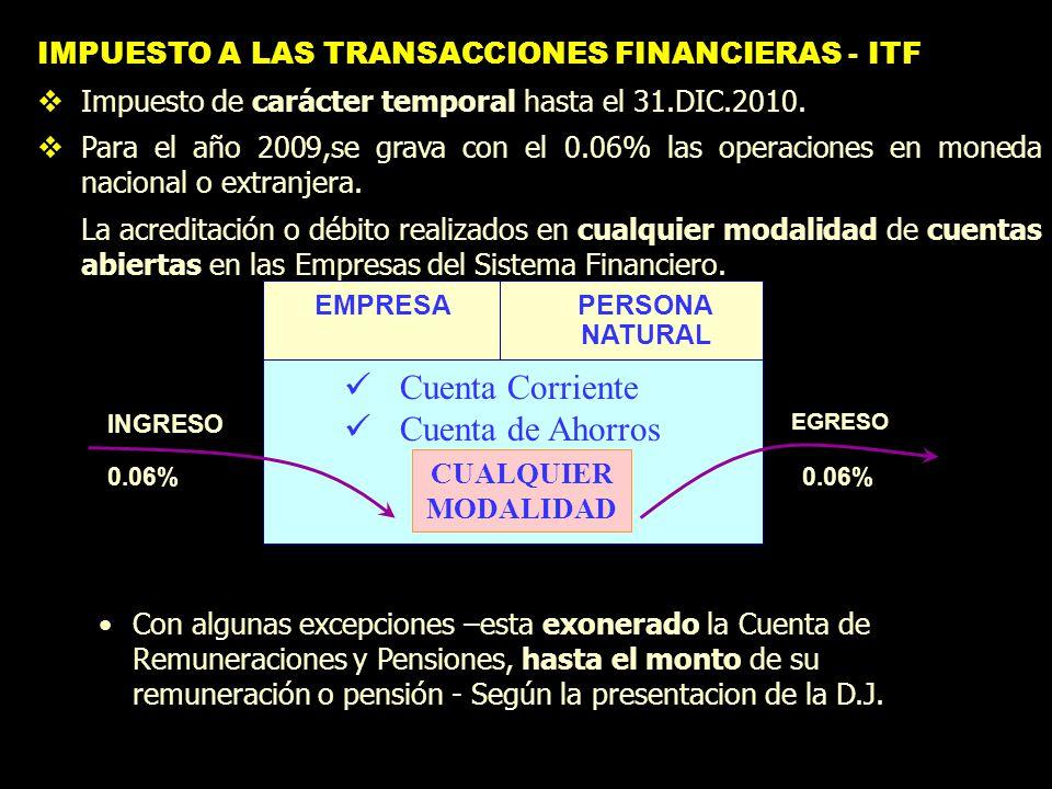 IMPUESTO A LAS TRANSACCIONES FINANCIERAS - ITF Impuesto de carácter temporal hasta el 31.DIC.2010. Para el año 2009,se grava con el 0.06% las operacio