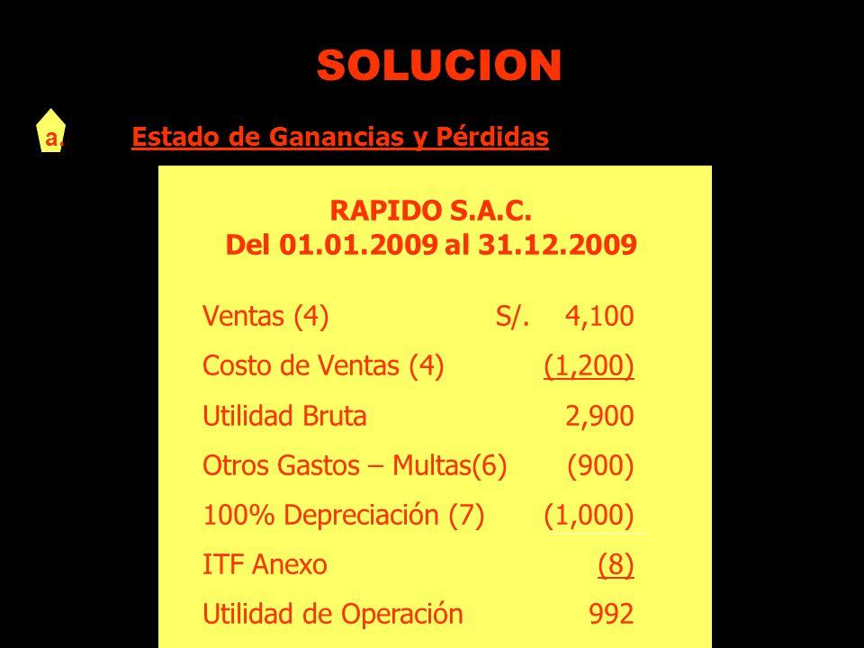 SOLUCION a. Estado de Ganancias y Pérdidas RAPIDO S.A.C. Del 01.01.2009 al 31.12.2009 Ventas (4)S/. 4,100 Costo de Ventas (4)(1,200) Utilidad Bruta2,9