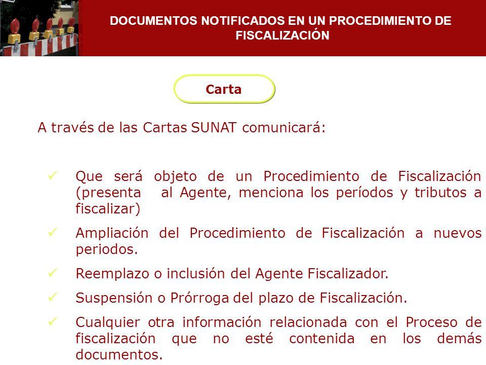 DOCUMENTOS NOTIFICADOS EN UN PROCEDIMIENTO DE FISCALIZACIÓN A través de las Cartas SUNAT comunicará: Que será objeto de un Procedimiento de Fiscalizac