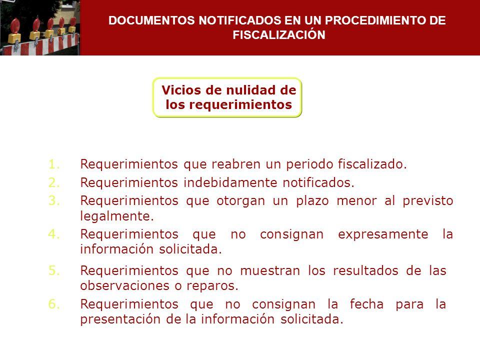 DOCUMENTOS NOTIFICADOS EN UN PROCEDIMIENTO DE FISCALIZACIÓN 1.Requerimientos que reabren un periodo fiscalizado. 2.Requerimientos indebidamente notifi