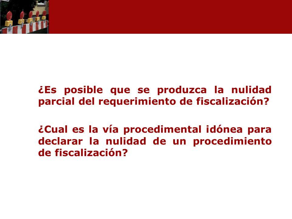 ¿Es posible que se produzca la nulidad parcial del requerimiento de fiscalización? ¿Cual es la vía procedimental idónea para declarar la nulidad de un