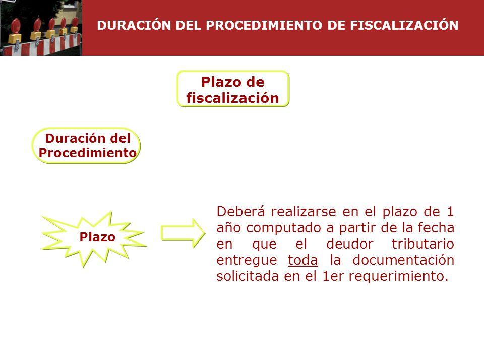 DURACIÓN DEL PROCEDIMIENTO DE FISCALIZACIÓN Plazo de fiscalización Duración del Procedimiento Deberá realizarse en el plazo de 1 año computado a parti