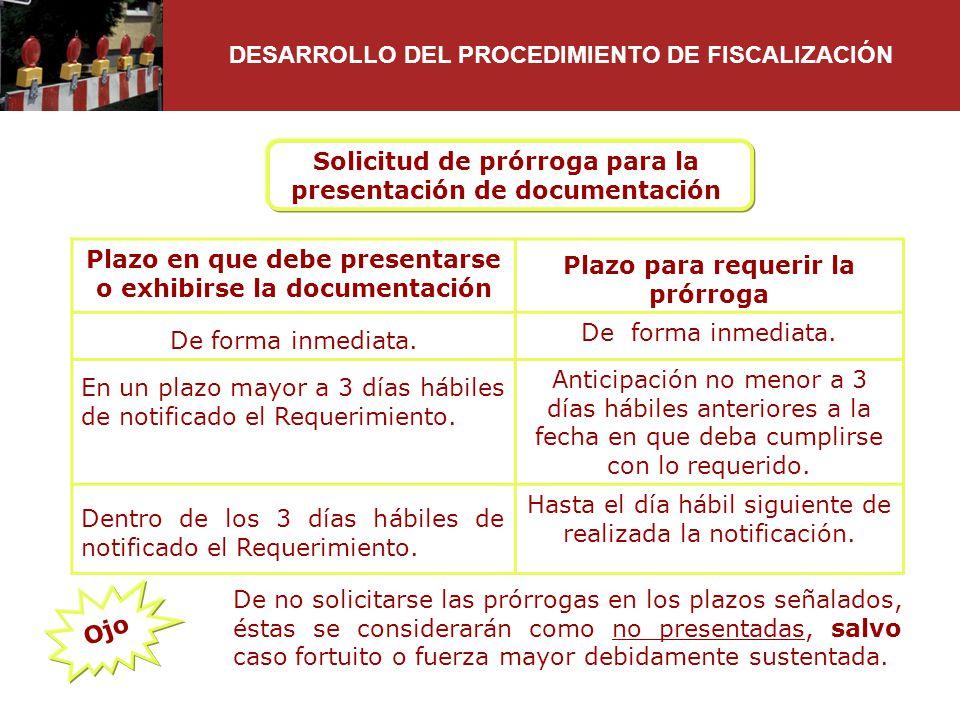 Solicitud de prórroga para la presentación de documentación Plazo en que debe presentarse o exhibirse la documentación Plazo para requerir la prórroga