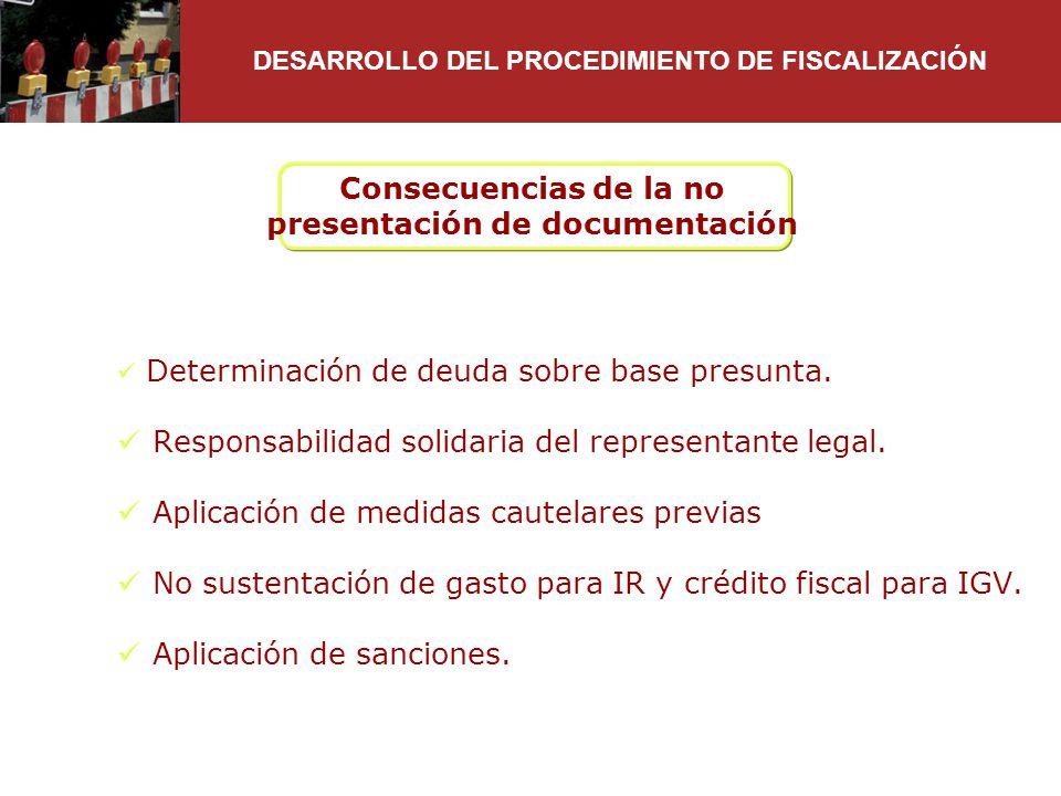 Consecuencias de la no presentación de documentación Determinación de deuda sobre base presunta. Responsabilidad solidaria del representante legal. Ap