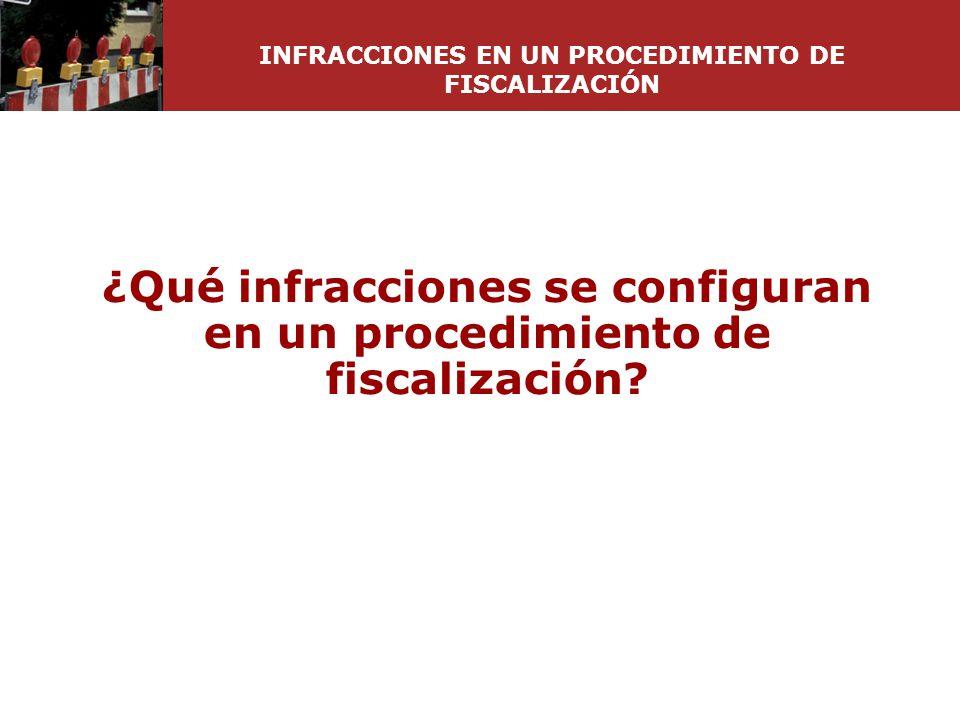 ¿Qué infracciones se configuran en un procedimiento de fiscalización? INFRACCIONES EN UN PROCEDIMIENTO DE FISCALIZACIÓN