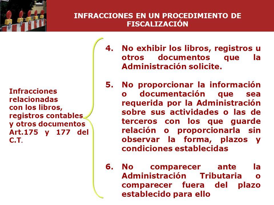Infracciones relacionadas con los libros, registros contables y otros documentos Art.175 y 177 del C.T. 4.No exhibir los libros, registros u otros doc