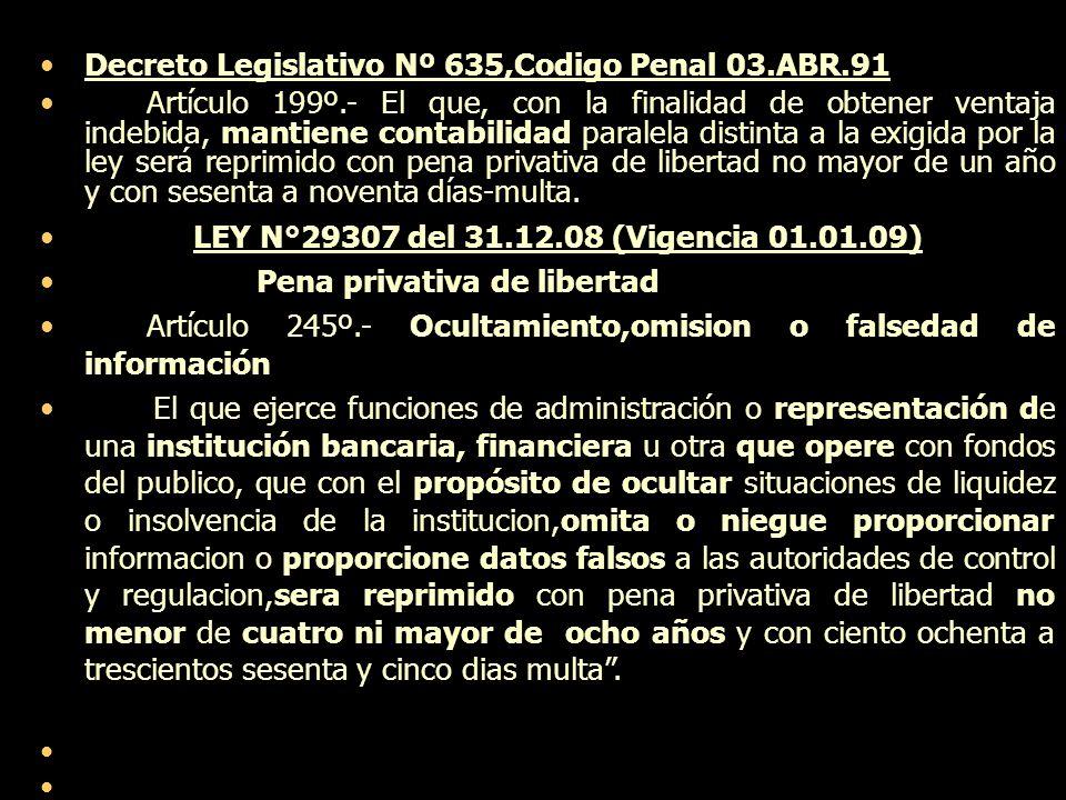 Decreto Legislativo Nº 635,Codigo Penal 03.ABR.91 Artículo 199º.- El que, con la finalidad de obtener ventaja indebida, mantiene contabilidad paralela