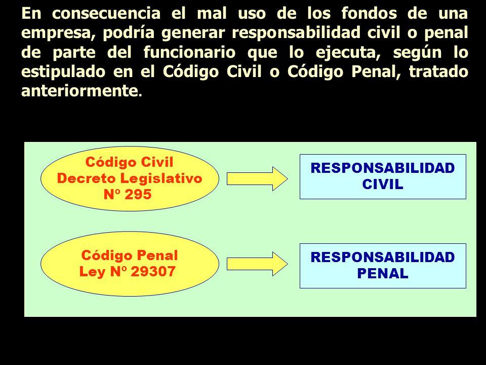 En consecuencia el mal uso de los fondos de una empresa, podría generar responsabilidad civil o penal de parte del funcionario que lo ejecuta, según l