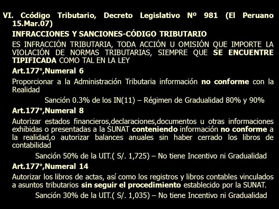 VI. Ccódigo Tributario, Decreto Legislativo Nº 981 (El Peruano 15.Mar.07) INFRACCIONES Y SANCIONES-CÓDIGO TRIBUTARIO ES INFRACCIÓN TRIBUTARIA, TODA AC