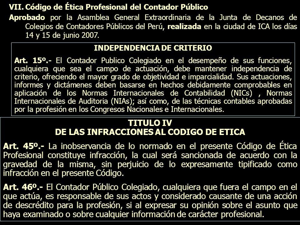 VII.Código de Ética Profesional del Contador Público Aprobado por la Asamblea General Extraordinaria de la Junta de Decanos de Colegios de Contadores