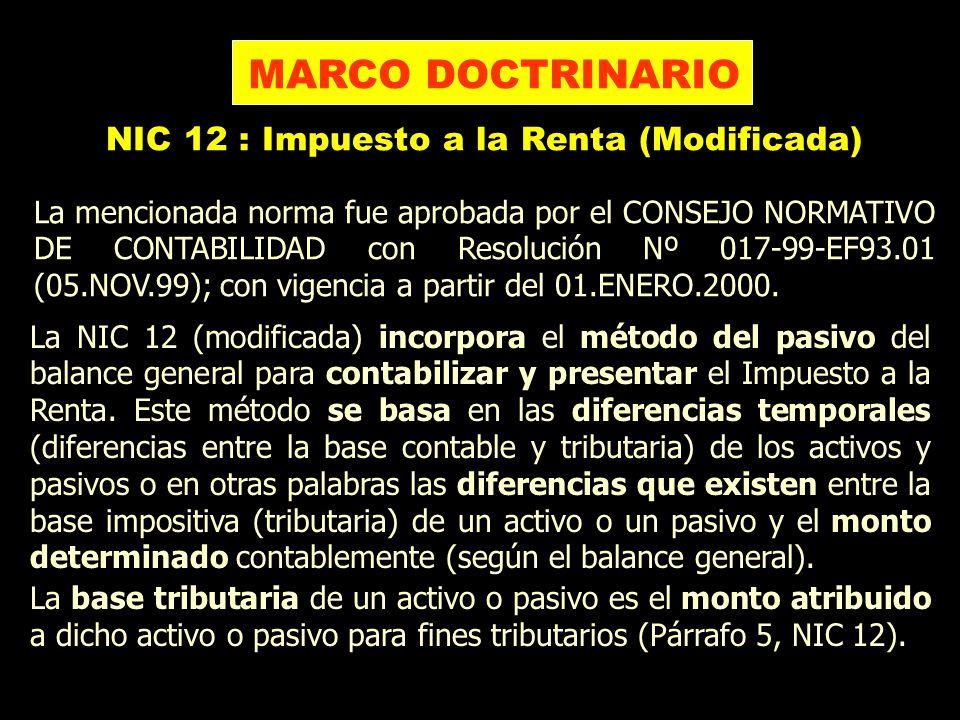 La NIC 12 (modificada) incorpora el método del pasivo del balance general para contabilizar y presentar el Impuesto a la Renta. Este método se basa en