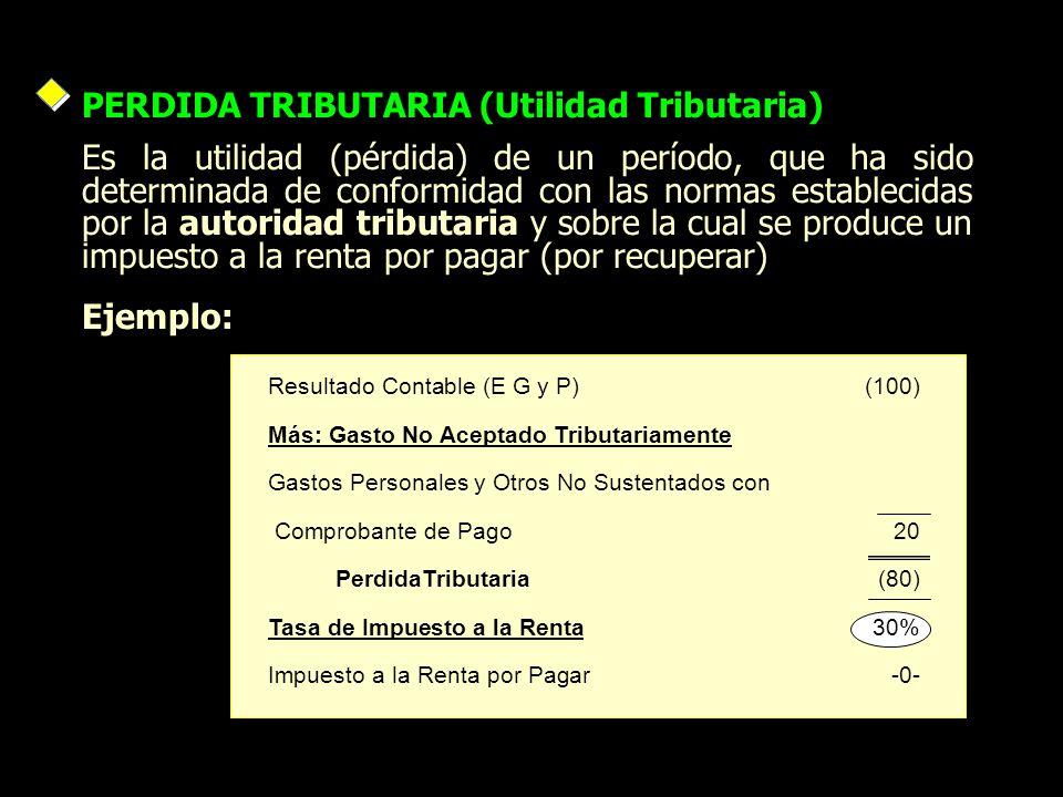 PERDIDA TRIBUTARIA (Utilidad Tributaria) Es la utilidad (pérdida) de un período, que ha sido determinada de conformidad con las normas establecidas po