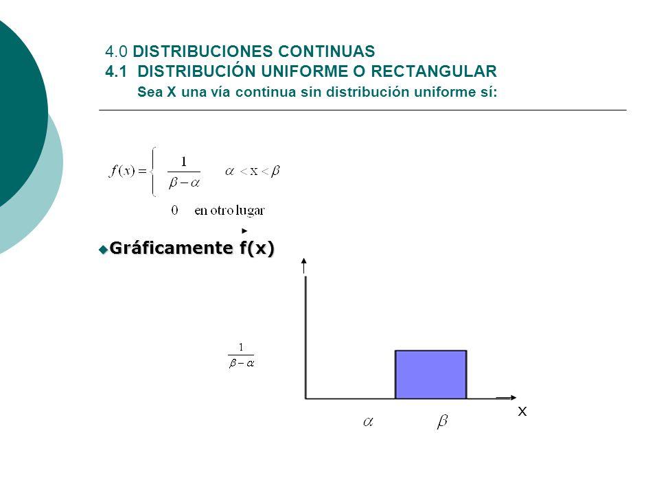 4.0 DISTRIBUCIONES CONTINUAS 4.1 DISTRIBUCIÓN UNIFORME O RECTANGULAR Sea X una vía continua sin distribución uniforme sí: Gráficamente f(x) Gráficamen