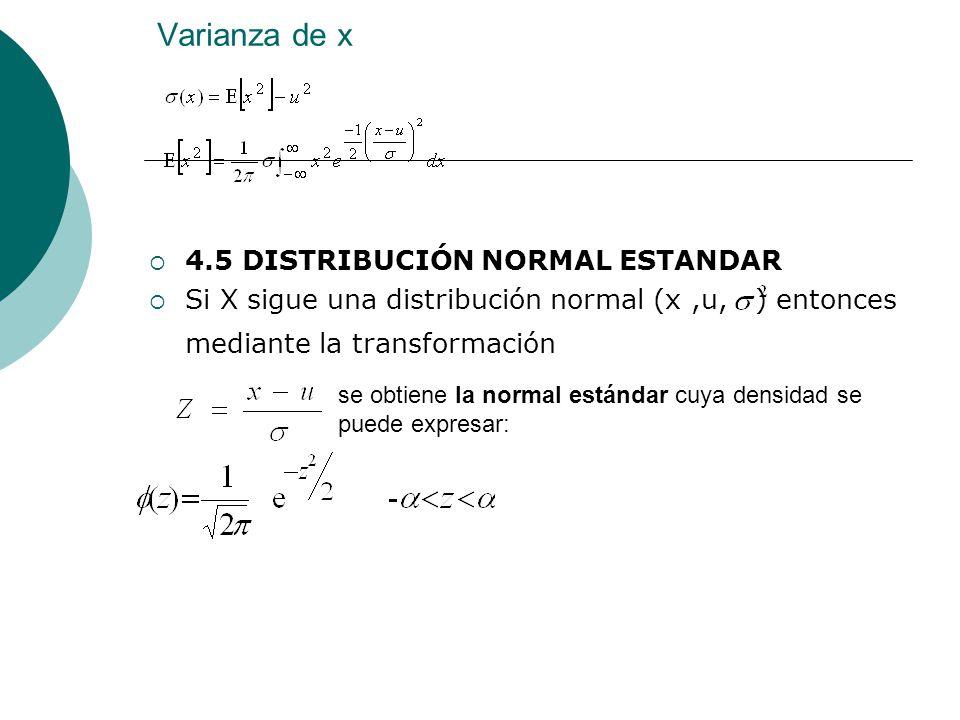 Varianza de x 4.5 DISTRIBUCIÓN NORMAL ESTANDAR Si X sigue una distribución normal (x,u, ) entonces mediante la transformación se obtiene la normal est