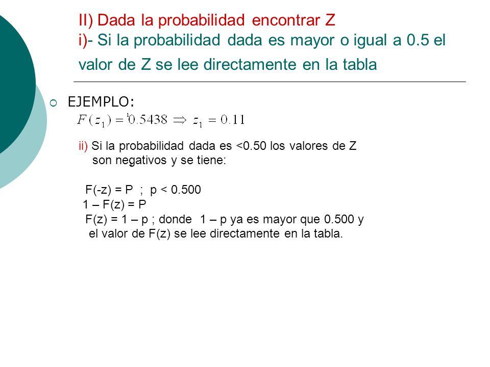 II) Dada la probabilidad encontrar Z i)- Si la probabilidad dada es mayor o igual a 0.5 el valor de Z se lee directamente en la tabla EJEMPLO: ii) Si