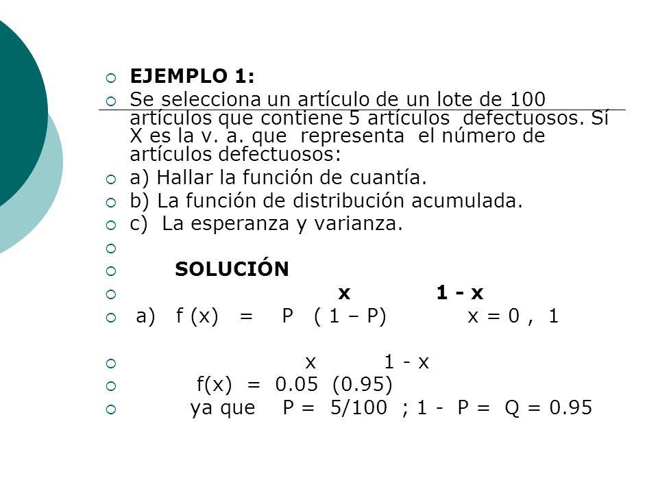EJEMPLO 1: Se selecciona un artículo de un lote de 100 artículos que contiene 5 artículos defectuosos. Sí X es la v. a. que representa el número de ar