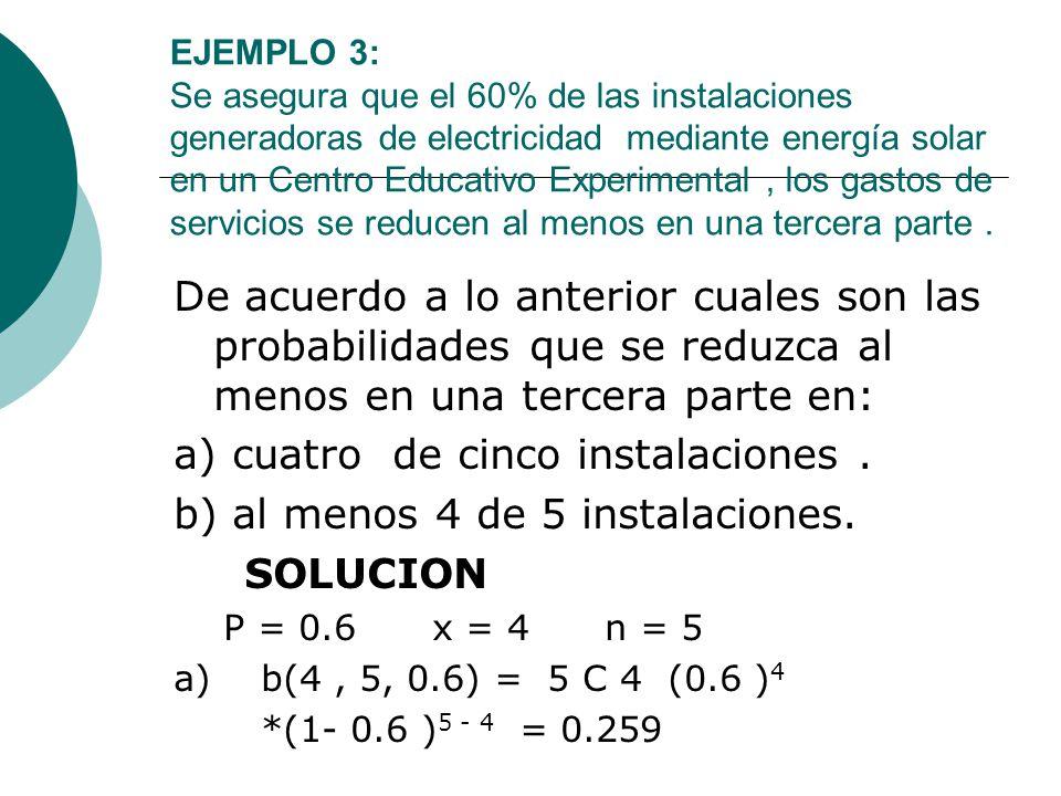 EJEMPLO 3: Se asegura que el 60% de las instalaciones generadoras de electricidad mediante energía solar en un Centro Educativo Experimental, los gast