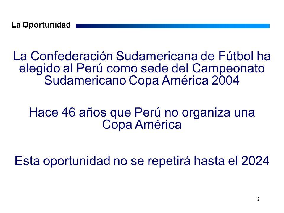 2 La Confederación Sudamericana de Fútbol ha elegido al Perú como sede del Campeonato Sudamericano Copa América 2004 Hace 46 años que Perú no organiza una Copa América Esta oportunidad no se repetirá hasta el 2024 La Oportunidad