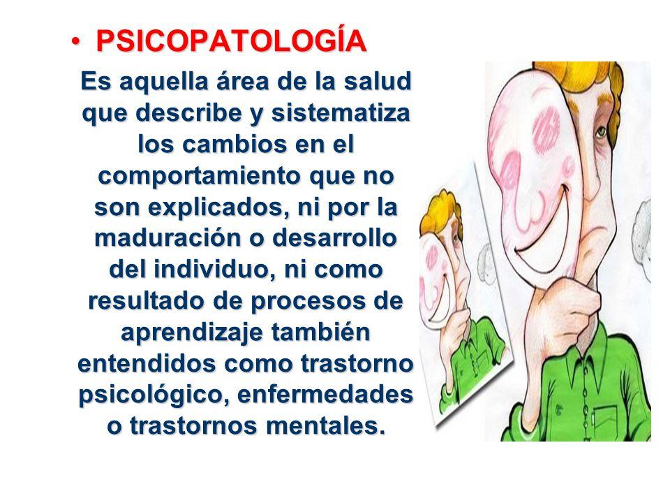 PSICOPATOLOGÍAPSICOPATOLOGÍA Es aquella área de la salud que describe y sistematiza los cambios en el comportamiento que no son explicados, ni por la