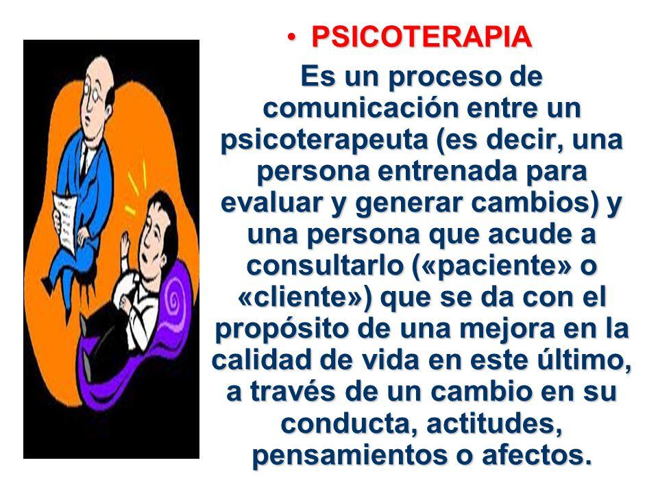 PSICOTERAPIAPSICOTERAPIA Es un proceso de comunicación entre un psicoterapeuta (es decir, una persona entrenada para evaluar y generar cambios) y una