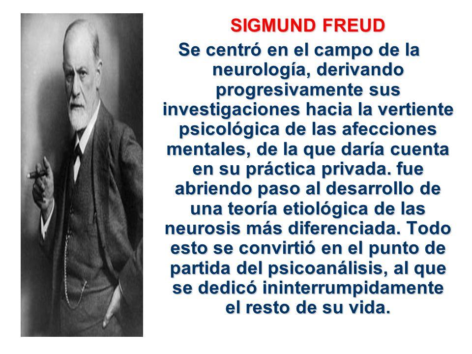 SIGMUND FREUD Se centró en el campo de la neurología, derivando progresivamente sus investigaciones hacia la vertiente psicológica de las afecciones m