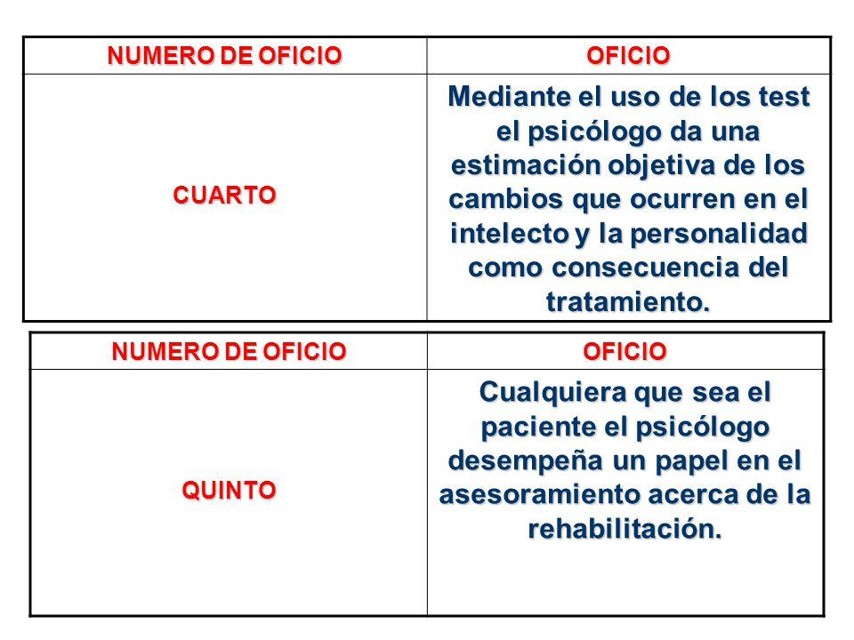 NUMERO DE OFICIO OFICIO CUARTO Mediante el uso de los test el psicólogo da una estimación objetiva de los cambios que ocurren en el intelecto y la per