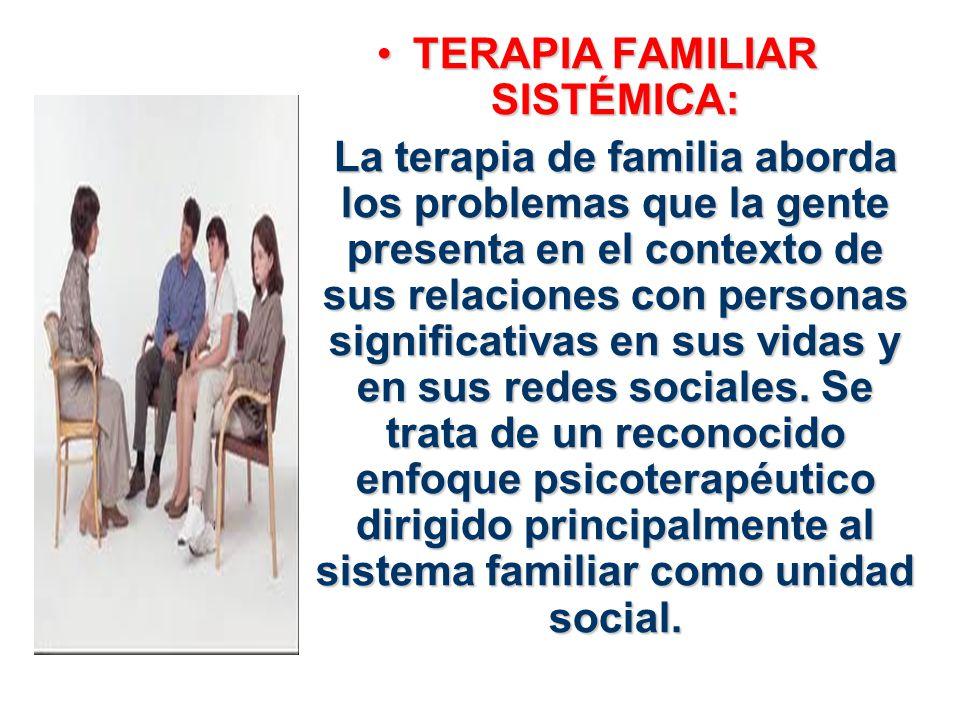TERAPIA FAMILIAR SISTÉMICA:TERAPIA FAMILIAR SISTÉMICA: La terapia de familia aborda los problemas que la gente presenta en el contexto de sus relacion