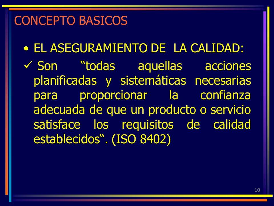 10 CONCEPTO BASICOS EL ASEGURAMIENTO DE LA CALIDAD: Son todas aquellas acciones planificadas y sistemáticas necesarias para proporcionar la confianza