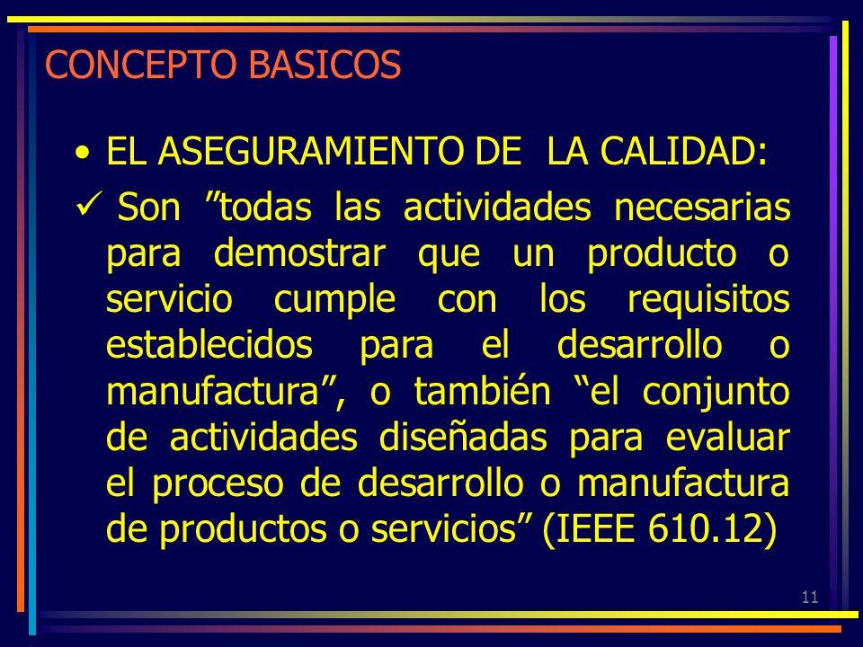 11 CONCEPTO BASICOS EL ASEGURAMIENTO DE LA CALIDAD: Son todas las actividades necesarias para demostrar que un producto o servicio cumple con los requ