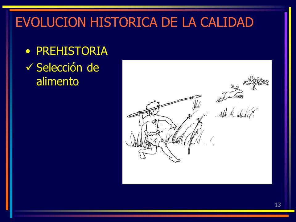 13 EVOLUCION HISTORICA DE LA CALIDAD PREHISTORIA Selección de alimento