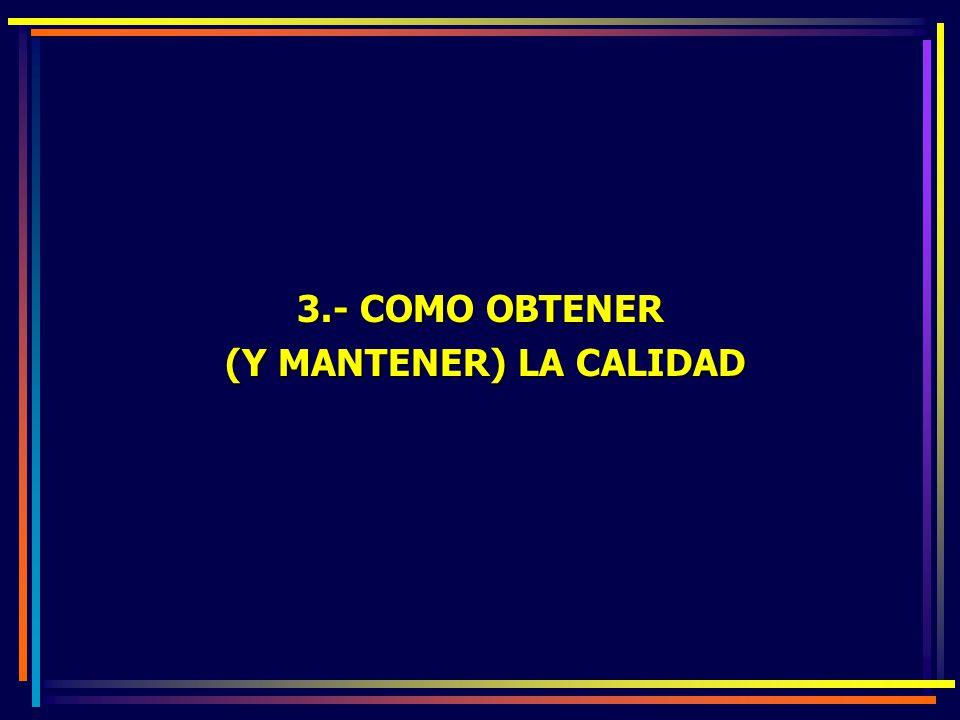 3.- COMO OBTENER (Y MANTENER) LA CALIDAD (Y MANTENER) LA CALIDAD