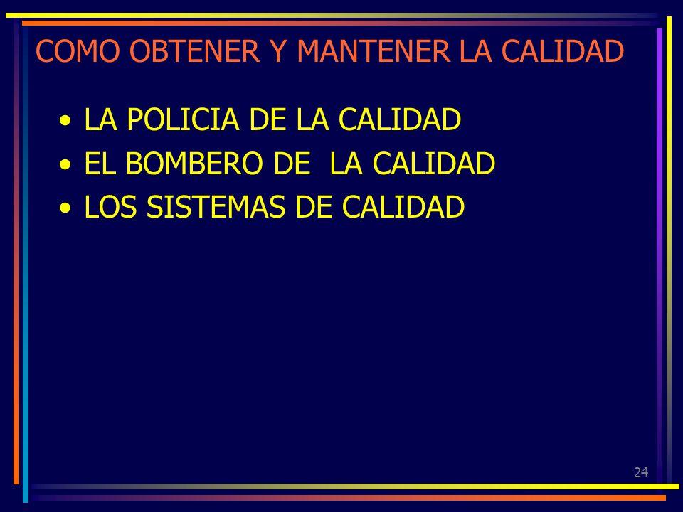 24 COMO OBTENER Y MANTENER LA CALIDAD LA POLICIA DE LA CALIDAD EL BOMBERO DE LA CALIDAD LOS SISTEMAS DE CALIDAD