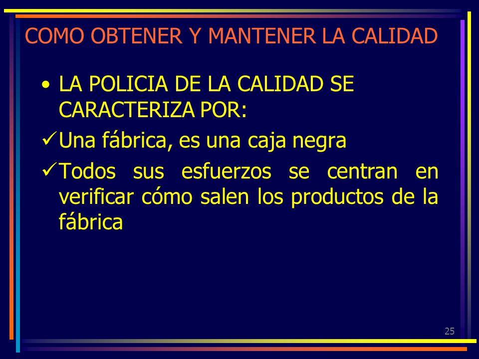 25 COMO OBTENER Y MANTENER LA CALIDAD LA POLICIA DE LA CALIDAD SE CARACTERIZA POR: Una fábrica, es una caja negra Todos sus esfuerzos se centran en ve