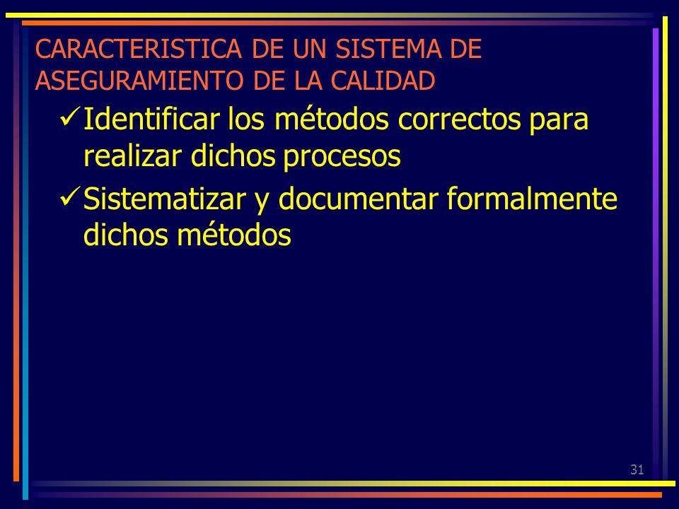 31 CARACTERISTICA DE UN SISTEMA DE ASEGURAMIENTO DE LA CALIDAD Identificar los métodos correctos para realizar dichos procesos Sistematizar y document