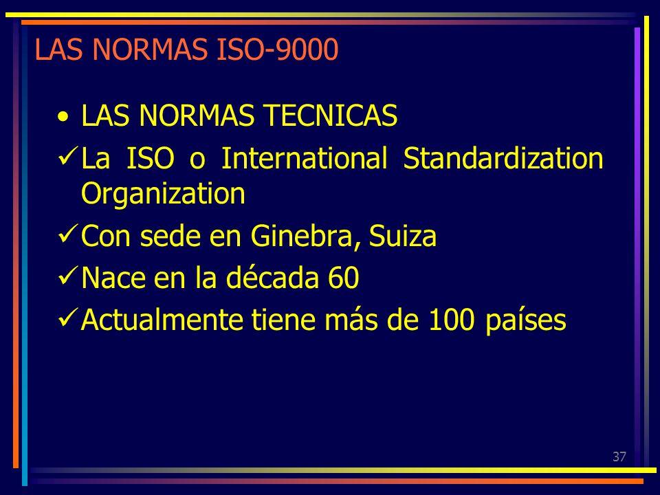37 LAS NORMAS ISO-9000 LAS NORMAS TECNICAS La ISO o International Standardization Organization Con sede en Ginebra, Suiza Nace en la década 60 Actualm