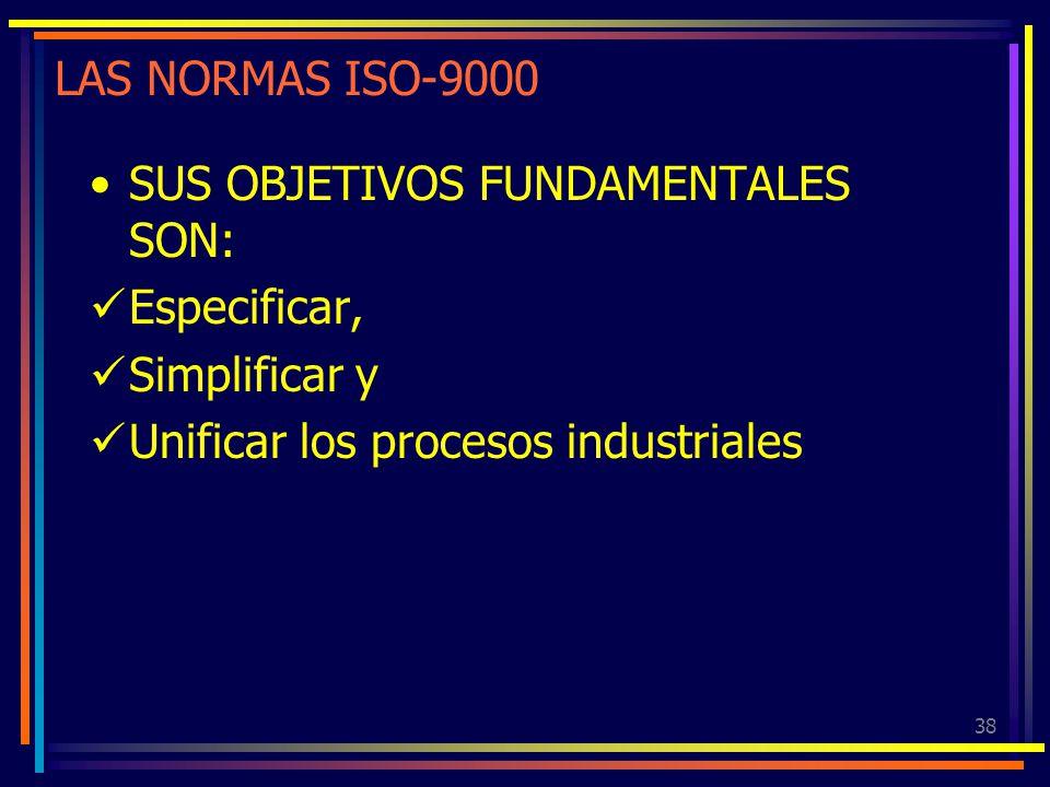 38 LAS NORMAS ISO-9000 SUS OBJETIVOS FUNDAMENTALES SON: Especificar, Simplificar y Unificar los procesos industriales