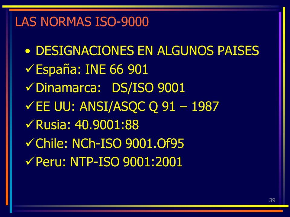 39 LAS NORMAS ISO-9000 DESIGNACIONES EN ALGUNOS PAISES España: INE 66 901 Dinamarca: DS/ISO 9001 EE UU: ANSI/ASQC Q 91 – 1987 Rusia: 40.9001:88 Chile: