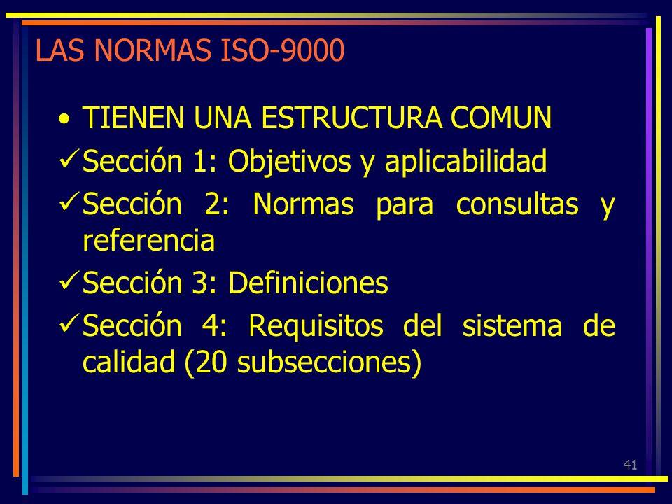 41 LAS NORMAS ISO-9000 TIENEN UNA ESTRUCTURA COMUN Sección 1: Objetivos y aplicabilidad Sección 2: Normas para consultas y referencia Sección 3: Defin