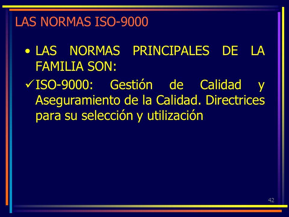 42 LAS NORMAS ISO-9000 LAS NORMAS PRINCIPALES DE LA FAMILIA SON: ISO-9000: Gestión de Calidad y Aseguramiento de la Calidad. Directrices para su selec