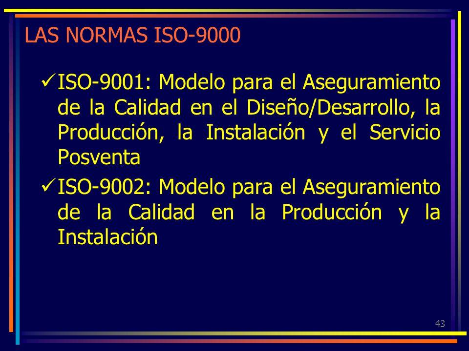 43 LAS NORMAS ISO-9000 ISO-9001: Modelo para el Aseguramiento de la Calidad en el Diseño/Desarrollo, la Producción, la Instalación y el Servicio Posve