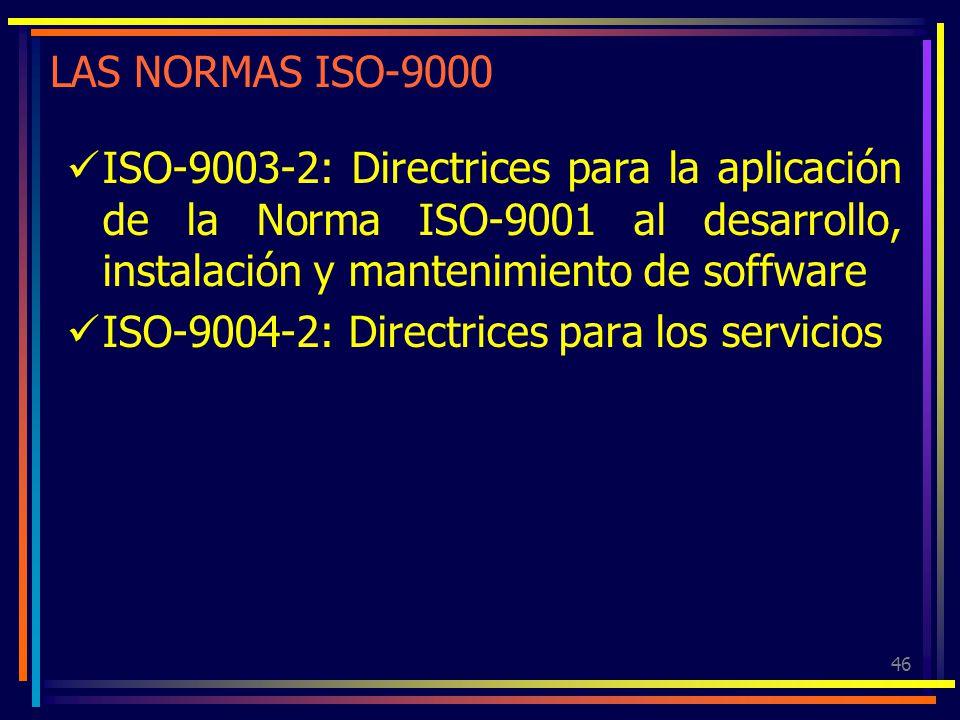 46 LAS NORMAS ISO-9000 ISO-9003-2: Directrices para la aplicación de la Norma ISO-9001 al desarrollo, instalación y mantenimiento de soffware ISO-9004