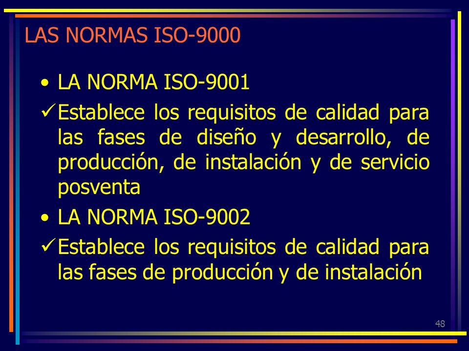 48 LAS NORMAS ISO-9000 LA NORMA ISO-9001 Establece los requisitos de calidad para las fases de diseño y desarrollo, de producción, de instalación y de