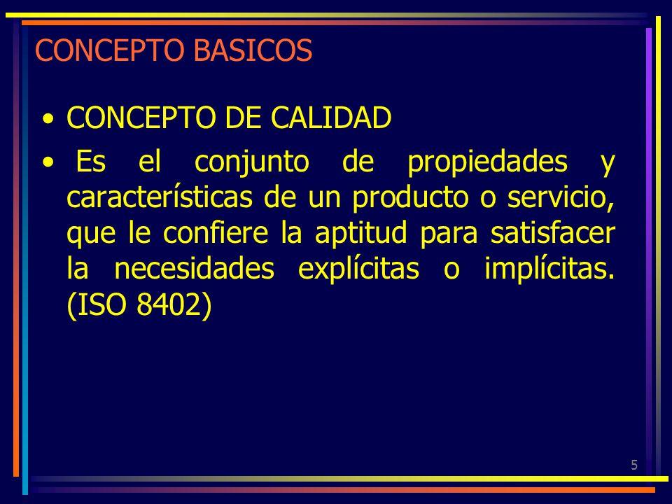 5 CONCEPTO BASICOS CONCEPTO DE CALIDAD Es el conjunto de propiedades y características de un producto o servicio, que le confiere la aptitud para sati