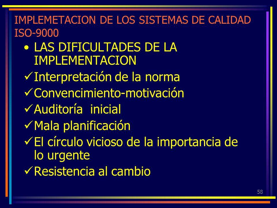 58 IMPLEMETACION DE LOS SISTEMAS DE CALIDAD ISO-9000 LAS DIFICULTADES DE LA IMPLEMENTACION Interpretación de la norma Convencimiento-motivación Audito
