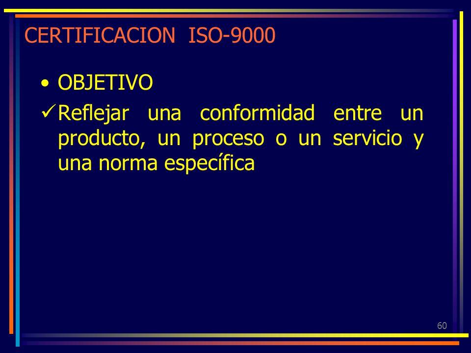 60 CERTIFICACION ISO-9000 OBJETIVO Reflejar una conformidad entre un producto, un proceso o un servicio y una norma específica
