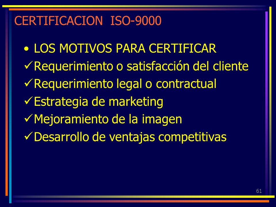 61 CERTIFICACION ISO-9000 LOS MOTIVOS PARA CERTIFICAR Requerimiento o satisfacción del cliente Requerimiento legal o contractual Estrategia de marketi