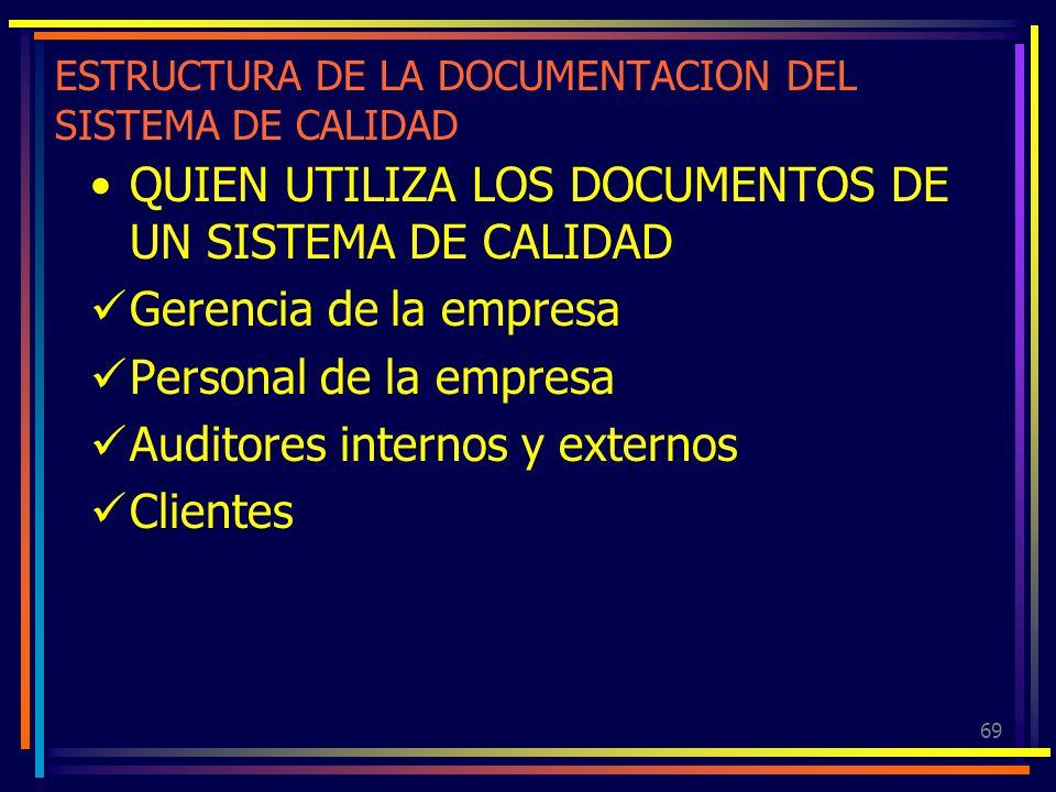 69 ESTRUCTURA DE LA DOCUMENTACION DEL SISTEMA DE CALIDAD QUIEN UTILIZA LOS DOCUMENTOS DE UN SISTEMA DE CALIDAD Gerencia de la empresa Personal de la e