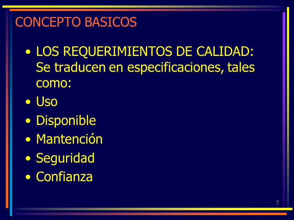7 CONCEPTO BASICOS LOS REQUERIMIENTOS DE CALIDAD: Se traducen en especificaciones, tales como: Uso Disponible Mantención Seguridad Confianza